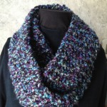 Blue Knit Double Loop Scarf