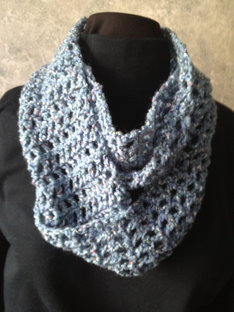 Blue Open Crochet Double Loop Scarf