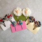 Vintage Fabric Yo-yo Hair Clips