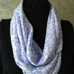 Light Blue Floral Straight Grain Fabric Infinity Scarf