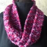 Pink Crochet Single Loop Mobius Scarf