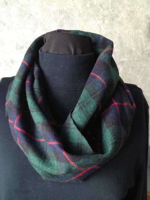 Plaid Wool Infinity Scarf