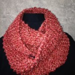red knit double loop scarf