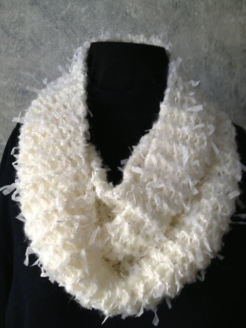 White Knit Double Loop Scarf