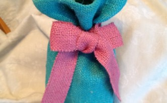 Teal Burlap Wine Bag