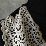 Vintage Lace Black & White Scarf Detail