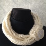 White Crochet Rope Scarf