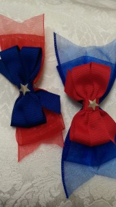 Blue and Red Double Hairbows