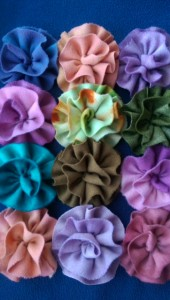Wool flower brooches