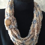 Tan Crochet Rope Scarf